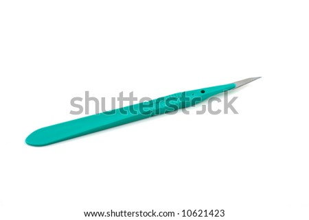 surgical scalpel on white background - stock photo