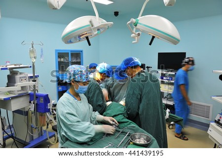 Surgical team operation in the operating room