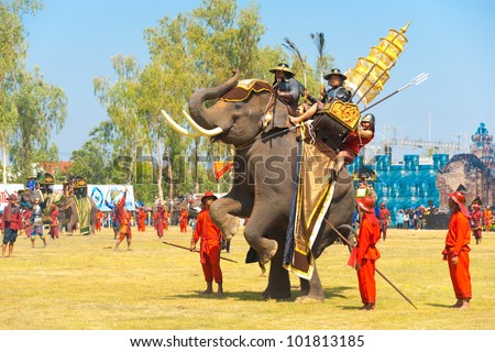 SURIN, THAILAND - NOVEMBER 20, 2010: King Naresuan's elephant rears up on its hind legs during a Burmese Siamese War reenactment at the Surin Elephant Roundup on November 20, 2010 in Surin, Thailand - stock photo