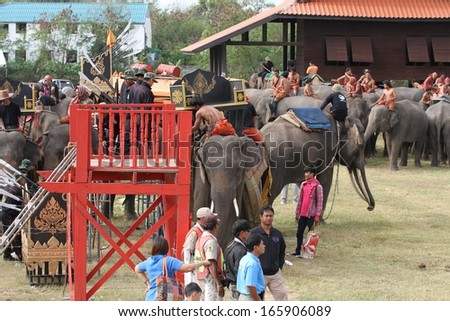 SURIN, THAILAND - NOVEMBER 16: Preparations behind the scenes for the opening ceremony of The Elephant Roundup Festival in Surin, Thailand on the 16th November, 2013.