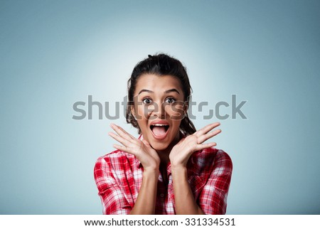Surprise astonished beautiful mixed race woman. Closeup portrait woman surprised in full disbelief open mouth and palms isolated on background. Positive human emotion facial expression body language. - stock photo