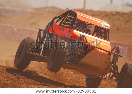 SURPRISE, AZ - APR 16: Zachary Hunt (334) at speed in round 3 action of Lucas Oil Off Road Series Limited Buggy racing on April 16, 2011 at Speedworld Off Road Park in Surprise, AZ. - stock photo