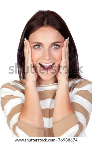Surprise brunette girl isolated on a over white background