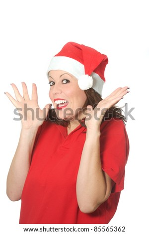 surprise Christmas girl - stock photo