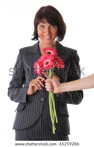 surprise - delight woman and male hand with flower