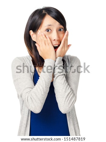 Surprise expression of young girl - stock photo