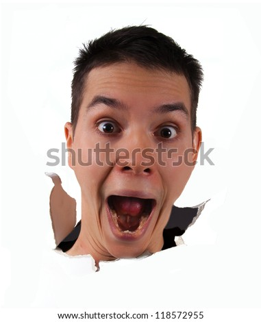 Surprise face jumping out from the wall isolated on white - stock photo
