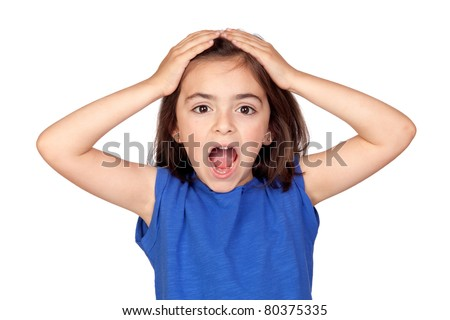 Surprise little girl isolated on a over white background - stock photo