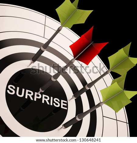 Surprise On Dartboard Shows Aimed Astonishment Or Amazement