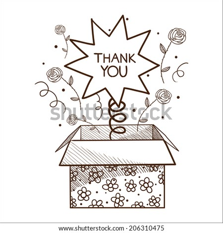 Surprise present box with thank you sign. - stock photo