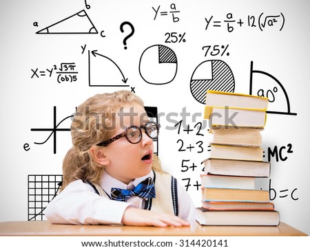 Surprise pupil looking at books against white background with vignette - stock photo