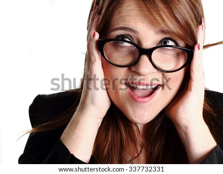 surprise redhead girl with glasses