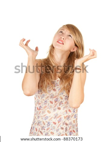 surprised, angry young woman, white background