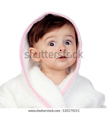 Surprised baby with bathrobe isolated on white background - stock photo