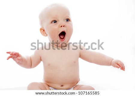surprised baby with white background - stock photo