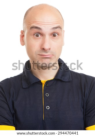 Surprised bald man isolated on a white background - stock photo