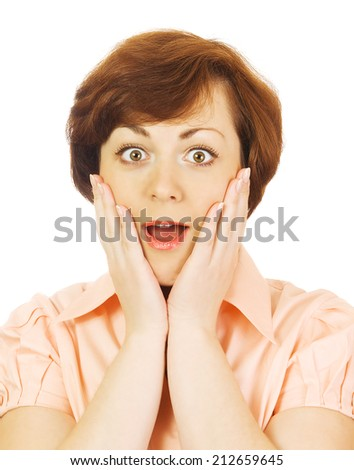 Surprised beautiful caucasian girl - stock photo