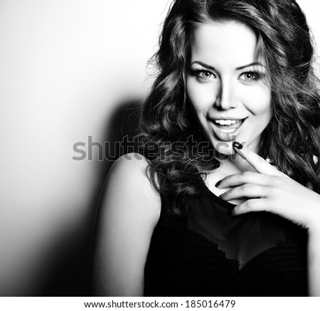 Surprised beautiful girl. Sexy woman. Fashion girl. Attractive young caucasian blue-eyed woman. Positive expressions. Black and white. - stock photo