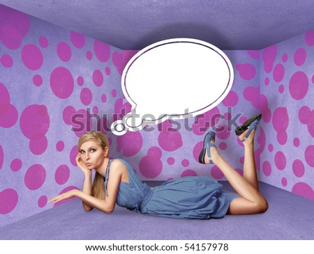 surprised blonde in blue dress with thought bubble in pink room - stock photo