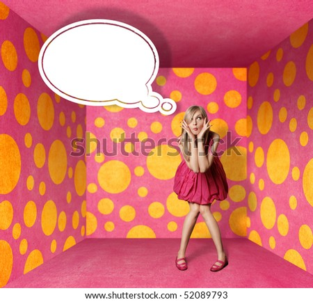 surprised blonde in pink dress with thought bubble in pink room