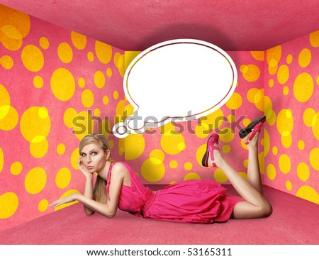 surprised blonde in pink dress with thought bubble in pink room - stock photo