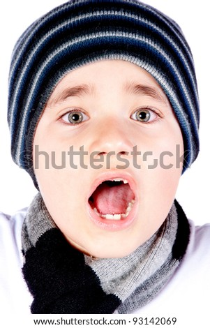 Surprised boy - isolated over a white background