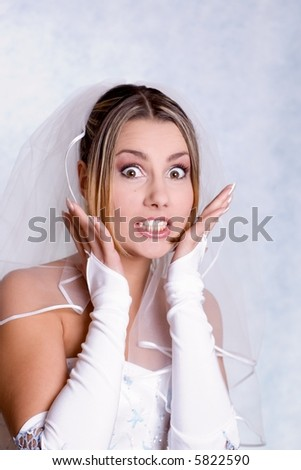 surprised bride - stock photo