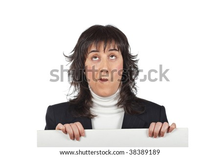 Surprised business woman behind the blank banner - stock photo