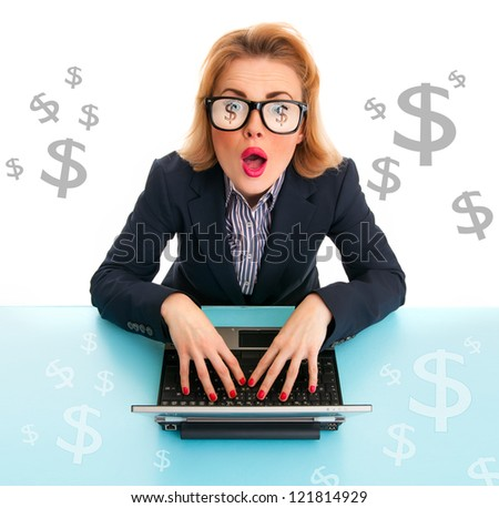 Surprised business woman browsing on laptop, dollar signs around, isolated on white