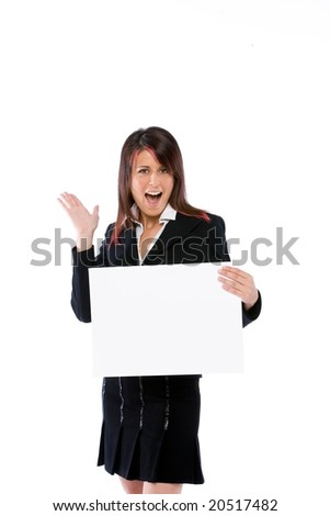 surprised businesswoman holding a blank cardboard - stock photo