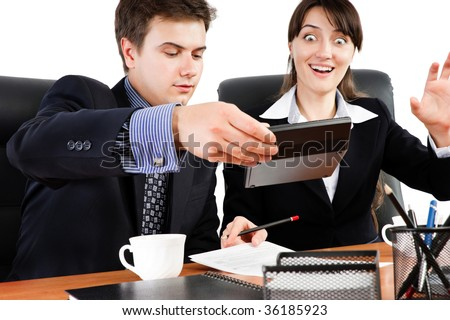 Surprised businesswoman on a meeting in an office environment - stock photo