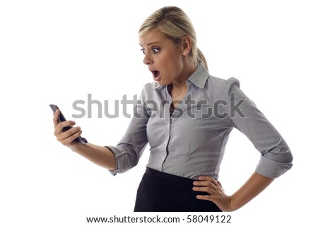Surprised businesswoman reading sms text message bad news isolated over white background - stock photo