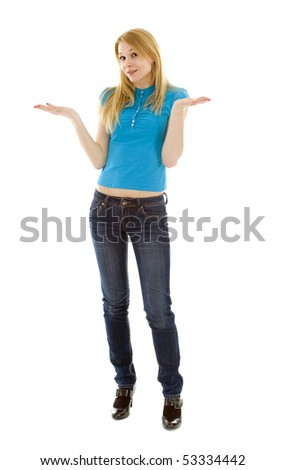 surprised caucasian girl making do not know sign isolated - stock photo