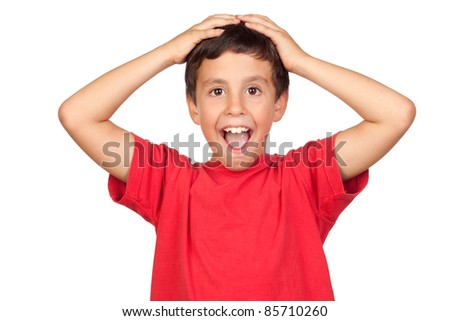 Surprised child isolated on a over white background - stock photo