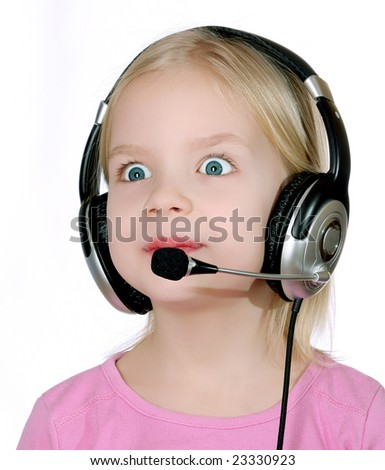 Surprised child wearing headset