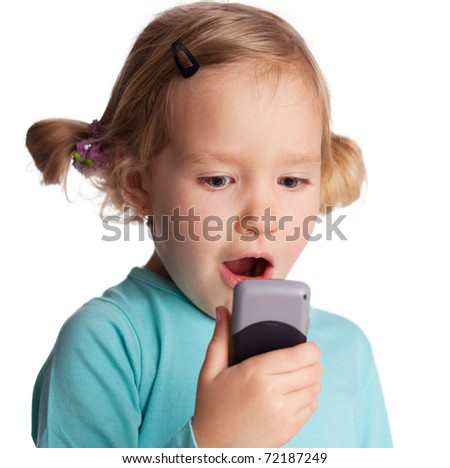 Surprised child with phone isolated on white