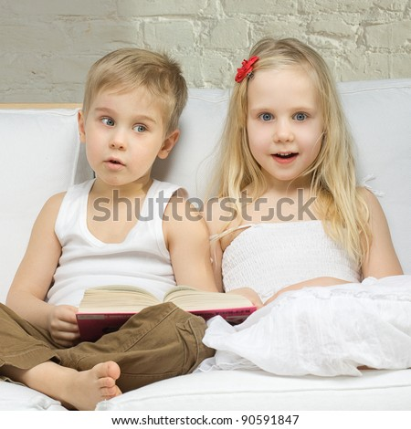 Surprised children, cute boy and girl - fun