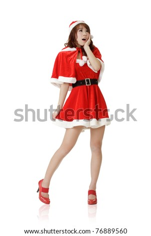 Surprised Christmas girl, full length portrait isolated on white background.