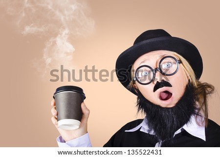 Surprised comical female character saying hi while on a caffine high, showing her love for coffee with steaming hot takeaway coffee cup - stock photo