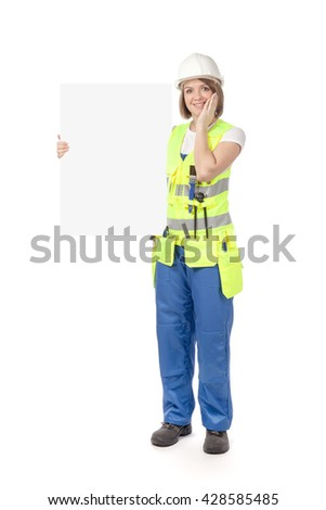 surprised construction female worker holding blank board with empty copy space for you text isolated on white background. advertisement banner. your text here - stock photo