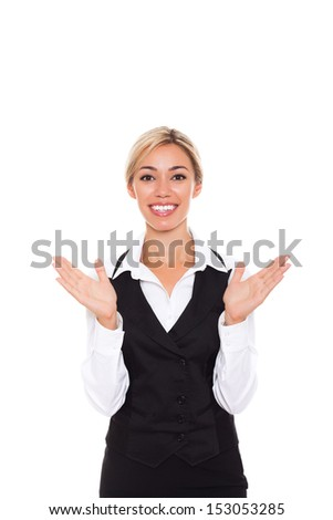 surprised excited smile business woman, businesswoman hold palms hands isolated over white background - stock photo