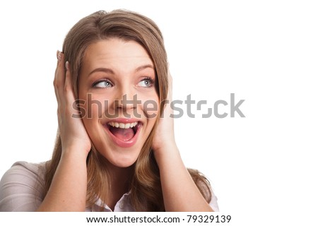 Surprised excited woman screaming amazed in joy. Beautiful young woman isolated on white background - stock photo