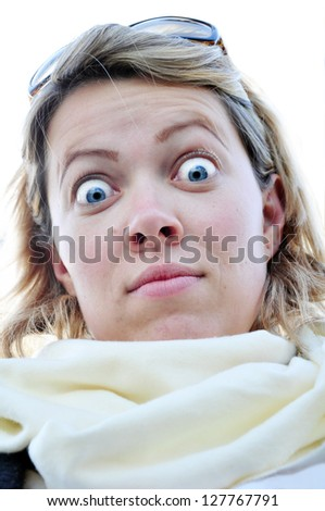 surprised facial expression - stock photo