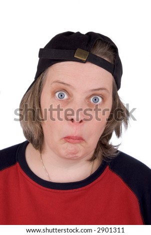 Surprised female baseball fan with baseball hat and t-shirt, over white - stock photo