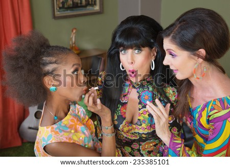 Surprised female friends embarrassed about smoking weed - stock photo