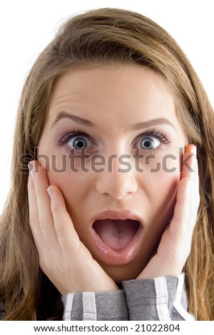 surprised female looking at camera against white background - stock photo