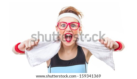 Surprised funny fitness woman ready for gym, sport girl screaming - stock photo