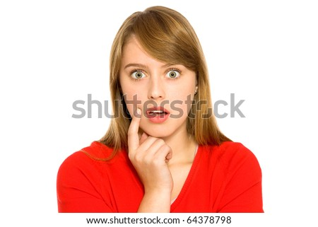 Surprised girl - stock photo
