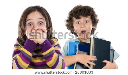 Surprised girl and a boy with many books falling isolated over white - stock photo