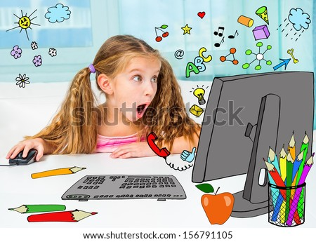 Surprised girl and her magic computer - stock photo